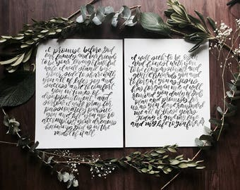 Handlettered Vows- Watercolor