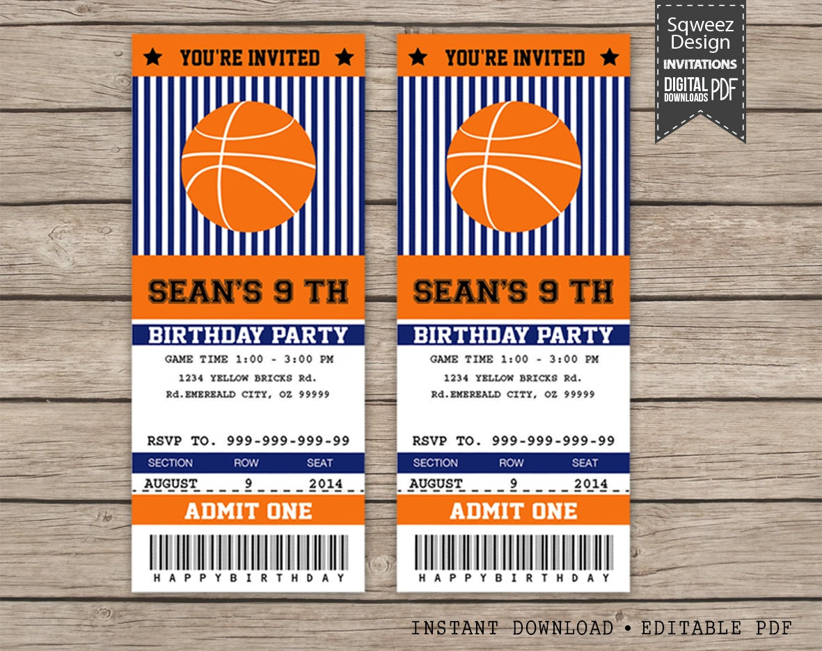 Basketball Invitations Sport invitation Ticket Invitation