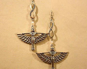 Egyptian infinity Goddess Isis silver tone earrings with semi precious stone