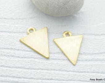 Triangle Charms Minimalist Matte 24K Gold Plated Geometrical Pendant,  Turkish Jewelry 4 Pieces- TDGC008