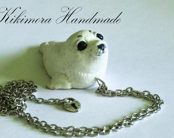 Seal Necklace, Baby Seal Pendant, Polymer Clay Sael, Sea Jewelry, Cute Baby Seal, White Seal, Baby Animal