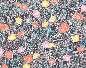 London Calling 7, Cotton Lawn Fabric by the Yard, Floral Fabric, Robert Kaufman, Apparel Fabric, Black Floral Cotton Lawn, L2070011