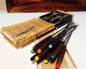 Wood Fondue Forks, Colored Tip Forks, Wood Fondue Spears, Midcentury Kitchen