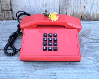 Vintage Red Phone, Push Button Telephone, Classic Phone from '89, Made in Bulgaria, Vintage Office Decor, Retro Red Telephone