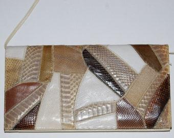 Vintage VARON Mixed Snakeskin Exotics Envelope Clutch Shoulder Bag