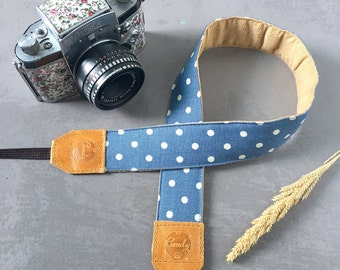 Polka Dot DSLR camera strap, Blue  Polka Dot Camera Strap, leather camera Strap ,