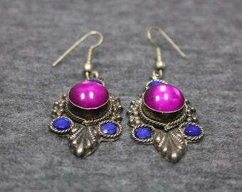 Sterling Silver Dangle Earring Featuring 2 Big Purple Stone