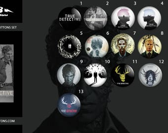 True detective buttons collection / / collection of plates True detective