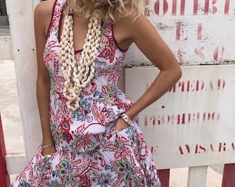 Long sundress in a happy flower block print cotton