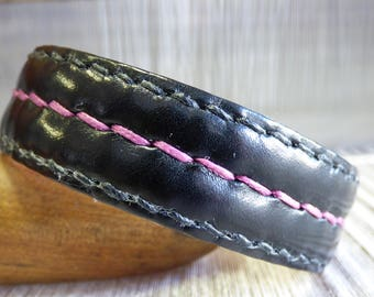 Black Buffalo Leather with Bishop Pink detailed stitching
