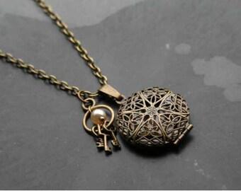 Antique Bronze Filligree Pendant Necklace, Pearl, Keys, Antique Bronze chain, Necklace, UK coloursofcalm colour of calm nickle free