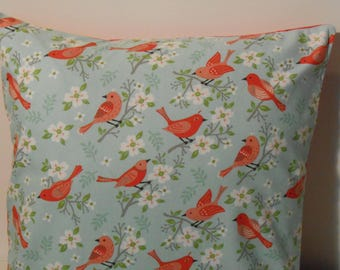 Pillow cover, birds, apple blossoms, blue, salmon, 16in. Square, FREE SHIPPING in USA!