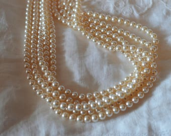 100 ~ Creamrose 6MM 5810 Swarovski Crystal Beads Pearls ~ Continuous Strand with Stringing Cord