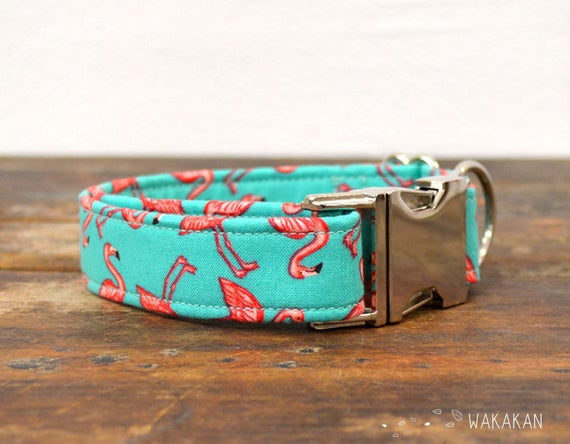 Flamingo dog collar adjustable. Handmade with 100% cotton fabric. summer and beach. Wakakan