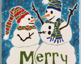 Snowman Merry hand-glazed tile