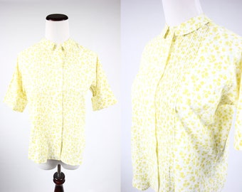 1960's Cotton Yellow Floral Button-up Short-sleeve Blouse