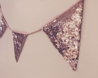 Two Rose gold sequin Handmade Vintage Triangle Flag Bunting Banner 10Flags Total