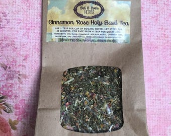 Cinnamon Rose Holy Basil Tea, stress relief, anti-anxiety, immune boosting, digestion aide, metabolism boost, anti-aging, tonic herb tea
