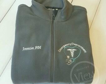 ER Nurse BLOCK Emergency Nurse  Fleece Jacket with Name on Right chest -RN zipup light or heavy weight fleece jacket with several colors