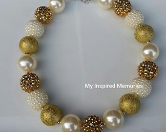 Free shipping.Baby toddler gold ivory bubblegum necklace