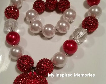 Free Shipping! Valentines bubblegum necklace and bracelet set, red valentine's bubblegum necklace