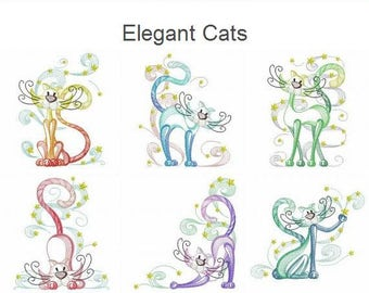 Elegant Cats Machine Embroidery Designs Pack Instant Download 4x4 5x5 6x6 hoop 12 designs APE2473