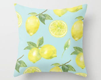 Lemon pillow with insert Cover - Lemons pillow with insert Cover - Citrus pillow with insert Cover - Modern Home Decor - By Aldari Home