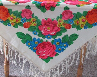 Bold Floral Square Vintage 70s Fringed Tablecloth - Hot Pink, Orange and Blue Flowers - Fringed Shawl - Linen Tablecloth - 70s