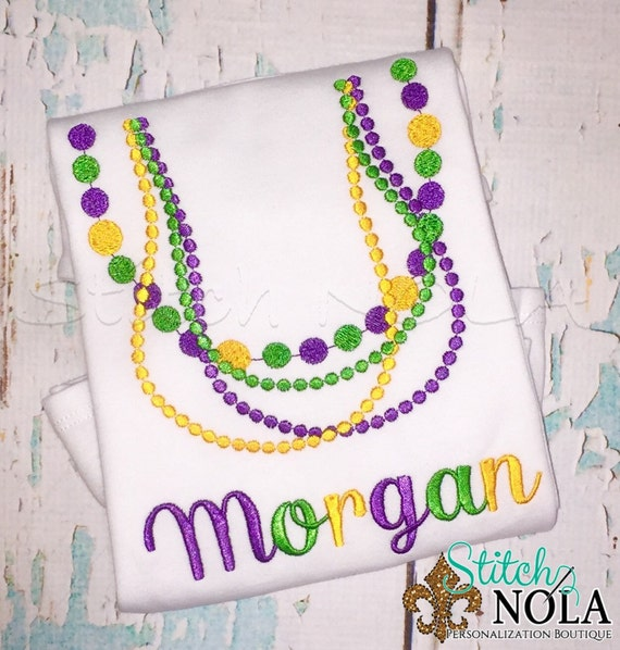 Mardi Gras Beads Shirt, Bodysuit or Gown