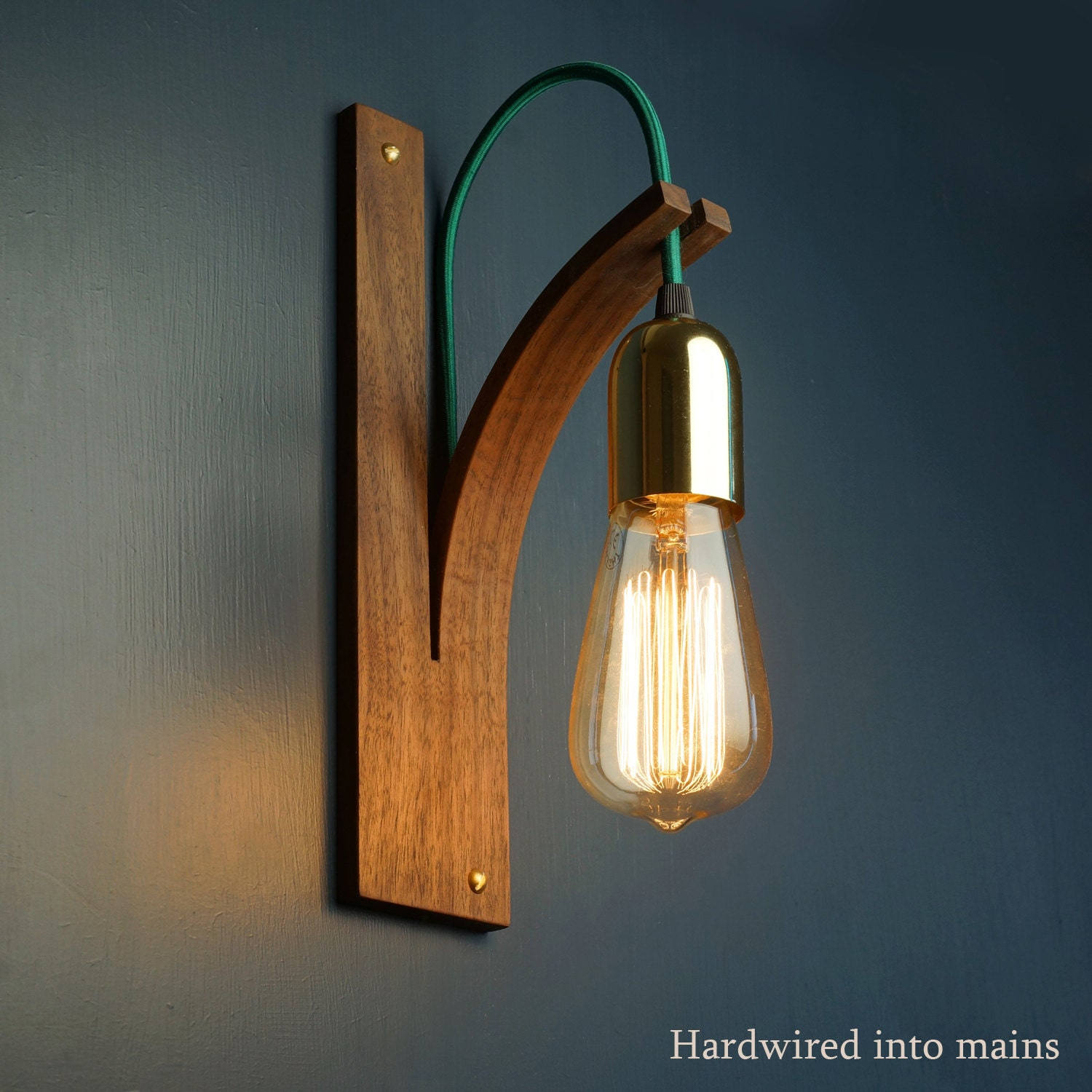 American Walnut Bracket Wall Light HARDWIRED TO MAINS