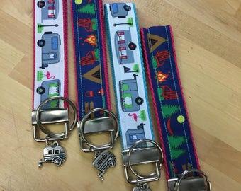 Camping Wristlet Keyfob - Camper - Key Chain - Key Fob- Keychain