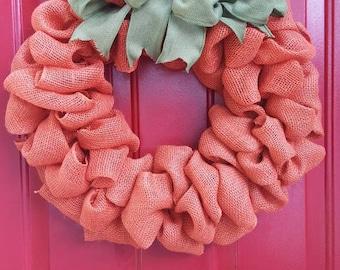 Autumn Burlap Pumpkin Wreath