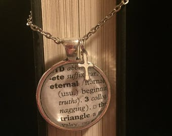 Eternal - Book Page Necklace with Cross Charm