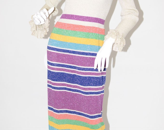 Vintage Estate Banff LTD Styled by Gianni Ferri Wool Blue Green Orange Purple Yellow Tan Silver Stripe Maxi Dress