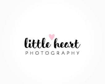Little Heart Logo Design, Pink Heart Logo, Handwritten Logo, Photography Logo, Premade Logo