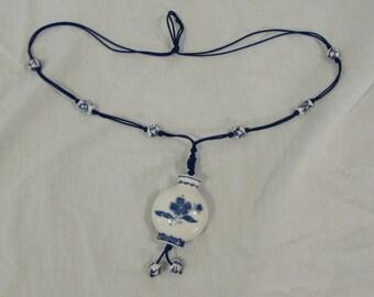 Necklace, Pendant, White and Delft Blue, Porcelain Ceramic on Satin/Nylon String