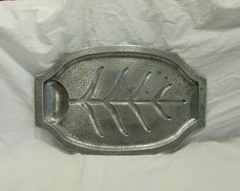 Serving Platter/Broiler Pan, RIVAL Hammer Bright Broiler-Server #L1700, Cast Aluminum, USA, 1950's