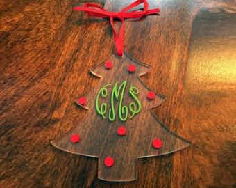 Monogram Acrylic Tree Ornament - Custom Christmas Tree Ornament - Initialed Acrylic Ornament - Personalized Acrylic Ornament