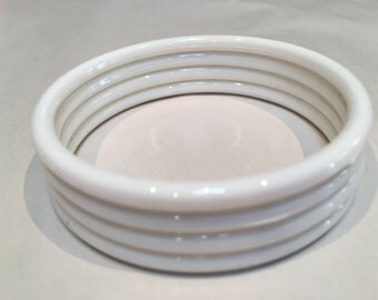 Vintage White Bangle Bracelets - Plastic - Set of 4
