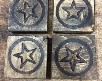 Western Coasters / Wood Coasters / Western Gifts / Texas Star Coasters / Set of 4 Rustic Western handmade wood coasters branded with a star