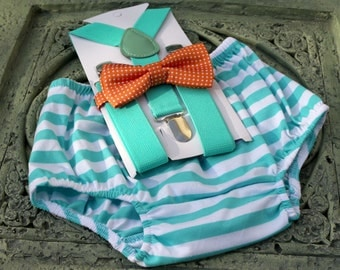 1st Birthday boy cake smash bow tie suspenders outfit 12 mo Mint orange, boy outfit,bloomers,diaper cover