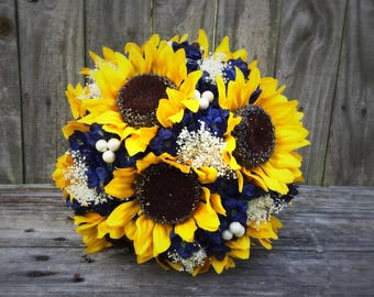Sunflower Bouquet, Navy Sunflower Bouquet, Bridal Bouquet, Wedding Bouquet