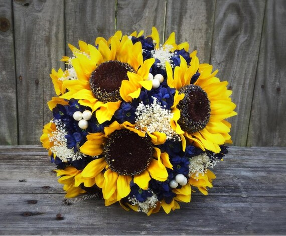 sunflower bouquets for weddings sunflower bouquet navy sunflower bouquet bridal bouquet 7823