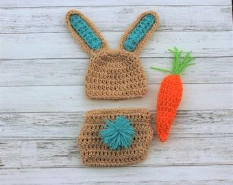 Baby Bunny Set, Baby Bunny Hat, Crochet Baby Hat, Crochet Bunny Hat, Newborn Bunny Hat, Easter Photo Prop, Newborn Photo Prop, Boy Bunny Hat