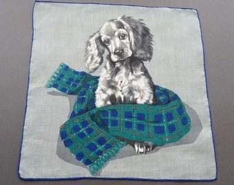 Dog with A Scarf - Vintage Cotton Hankie Handkerchief