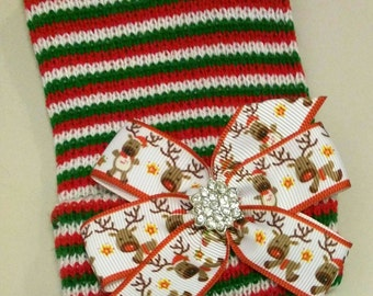 Newborn CHRISTMAS HOLIDAY hospital hat with a Beautiful Reindeer Bow and topped off with a Rhinestone! CUTE!