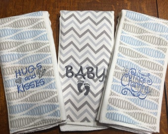 Set of 3 Embroidered Burp Cloths for Baby Boy