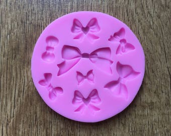 Bow and heart silicone mold mould for resin or clay