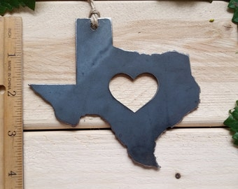 Love Texas State Steel Ornament Rustic TX Metal State Heart Host Gift Keepsake Travel Wedding Favor By BE Creations