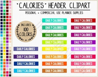 SALE 100 DAILY CALORIES stickers calorie tracker planner stickers weight loss printable stickers Erin Condren Planner Commercial use clipart